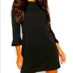 Black Ruffle 3/4 Sleeve Shift Dress